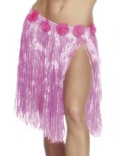 Luau Hawaiian Pink Hula Skirt With Flower Detail